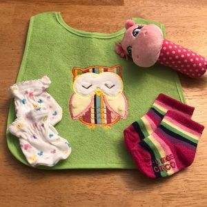 Other - Bib, socks, mittens and a hippo toy
